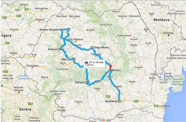 Harta cu turul Romaniei