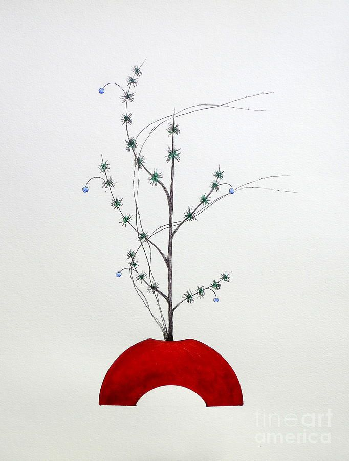 Japanese Ikebana Shoka Style Painting by Gordon Lavender