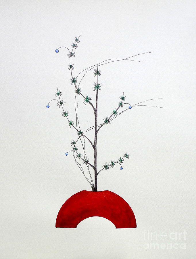 Japanese Ikebana Shoka Style Painting by Gordon Lavender