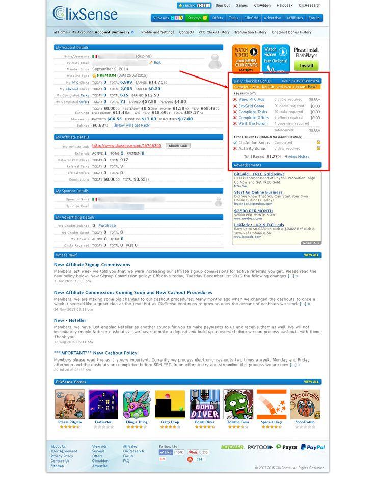 Description Guadagno Online-Clixsense 13° Pagamento Ricevuto Clixsense uno dei Migliori siti di Guadagno Online Per Info Contattare L'amministratore del Sito al seguente indirizzo email ciupino@nonsoloscommesse.com