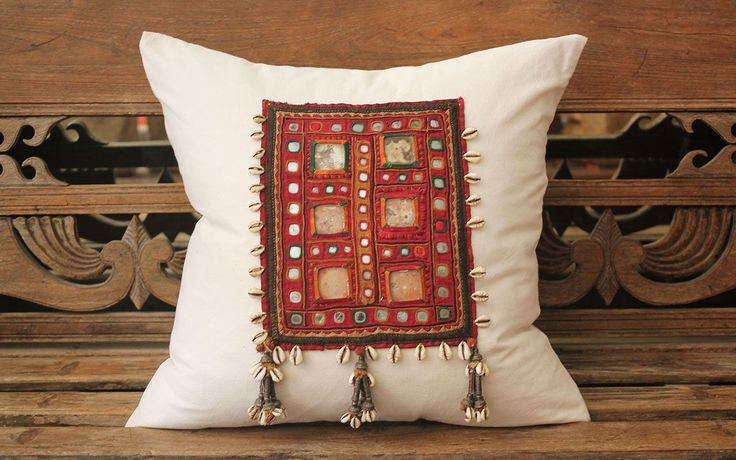 Vintage Linen Textile Cushion with Cowry Shell Tassles