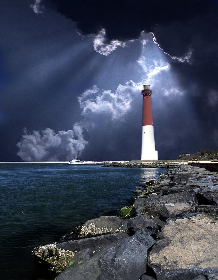 "Barnegat Lighthouse ""Old Barney""	Long Beach Island	Barnegat Inlet.	New Jersey	US	39.764306,-74.106222  Inlet Nj Fine Art Print - Skip Willits"