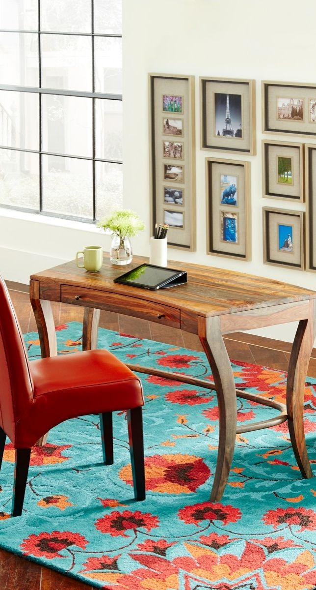 Anchor Your Study Or Any Room With The Curved Solid Wood Form And Banded
