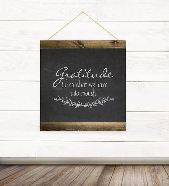 Gratitude Turns What We Have Into Enough Canvas Banner Quote Dark Gray Background. Canvas quote banners designed and framed by Willow Hill Signs. ___________________________________ Our quotes are printed on the highest quality real cotton blend fine artist canvas. Our 100% natural