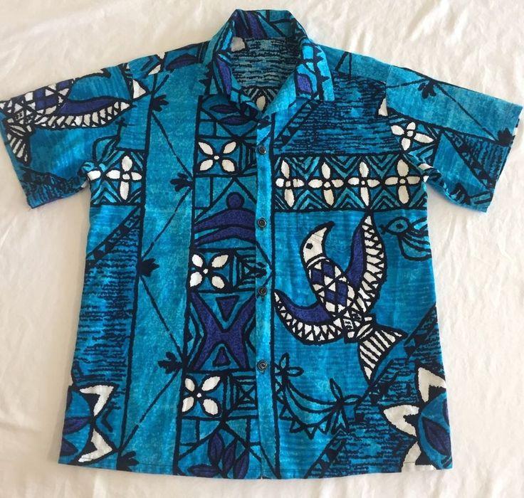 Sm-Med Barkcloth Mod Hawaiian Shirt No Tags Turquoise Blue Black Bird Geometric #Unbranded #Hawaiian