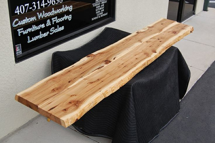 Reclaimed Lumber Live Edge Hickory Slab Perfect For A Long Bar Table Top Exquisite Grain