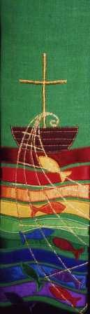 Plainweave stole with boat waves net and fish design Metallic embroidery and applique on a plainweave fabric Stoles are approximately 5 wide and 100