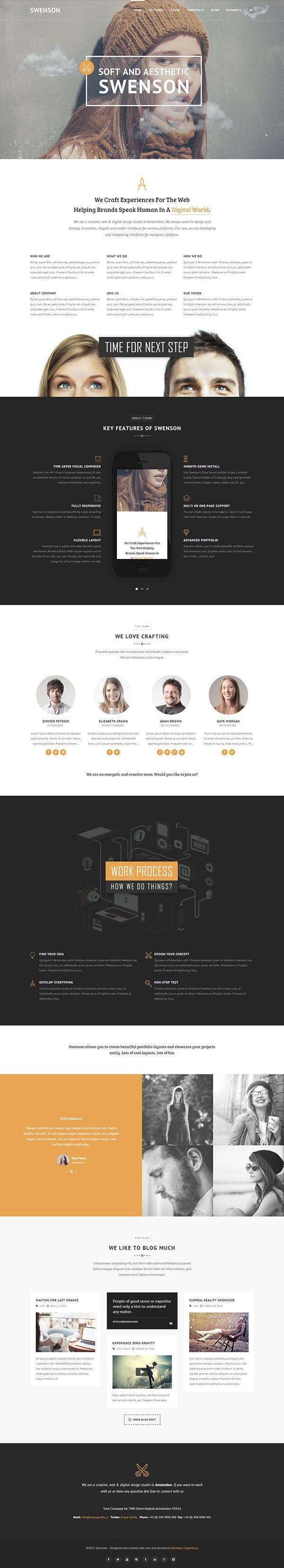 Swenson - Soft Creative Wordpress Theme on Behance