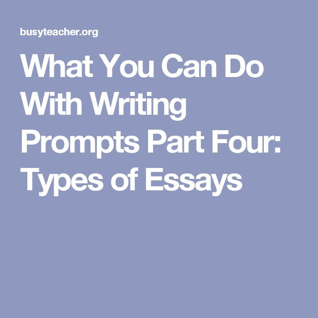 What You Can Do With Writing Prompts Part Four: Types of Essays