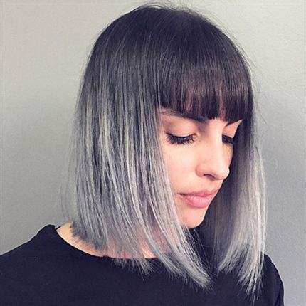 short straight ombre bob hairstyle with blunt bangs