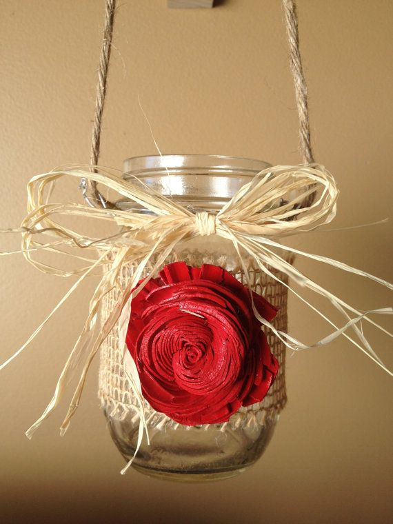 Set of 6 Rustic Hanging Mason Jar - Rustic Wedding Decor - Shabby Chic Wedding - Wedding Isle Marker