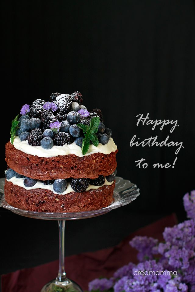 Chocolate and hazelnut cake with blackberries and blueberries (gluten free)