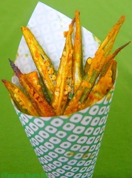 Ladies Fingers(Okra) fries--these did NOT work for me--the picture in the recipe looks floured and fried. These were too salty and limp--and I baked them four times longer than suggested!!