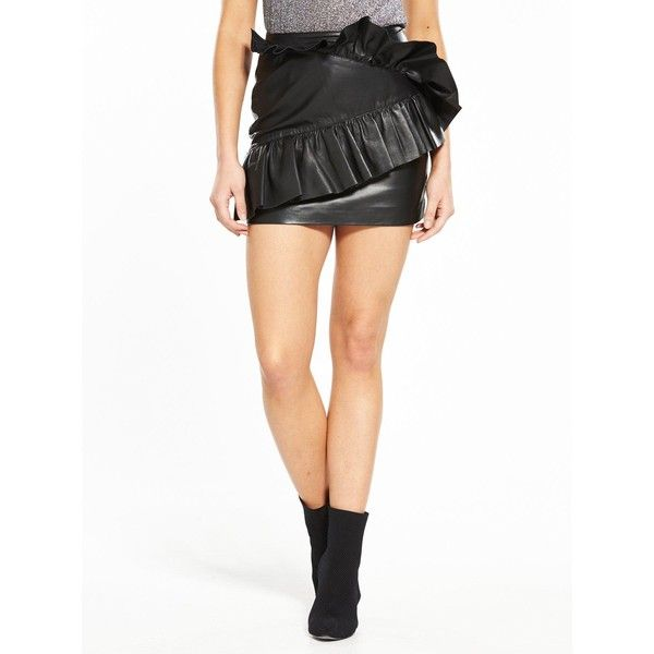 V By Very Unique Mini Leather Skirt (£100) ❤ liked on Polyvore featuring skirts, mini skirts, maxi skirts, white skirt, leather maxi skirt, real leather mini skirt and leather mini skirt