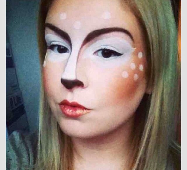 Deer woodland animal. Fairy tale themed make up. Costume make up. Deer make up. Illamasqua.