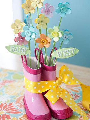 this would be fun to make with the girls for their room. we could spray paint their old rain boots.Rain Shower, Rain Boots, Baby Shower Ideas, Paper Flower, April Shower, Baby Shower Centerpieces, Buttons Flower, Shower Theme, Baby Shower