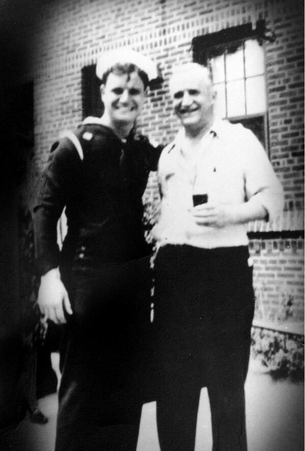Don Rickles with his father before shipping out for service in WWII. March 1943.