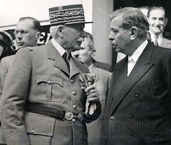 Marshal of France Phillipe Petain and Pierre Laval discuss the dismantling of the Third Republic, July, 1940. Pétain did not like Laval who, in common with most political leaders of the late Third Republic, was a thoroughly bourgeois political fixer.