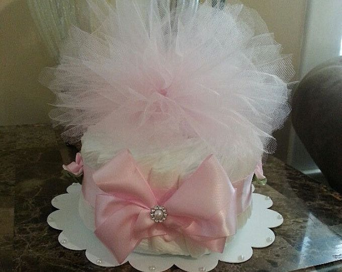 De primer nivel tul rosa pastel de pañales / pieza central de la ducha del bebé / pañales elegantes tortas / bebé ducha regalo