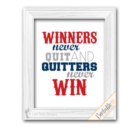 Sports Quote Baseball Theme Teen Boy Bedroom Winners Never Quit And Quitters Win Blue Red Grey Wall Decor Printable Digital Download