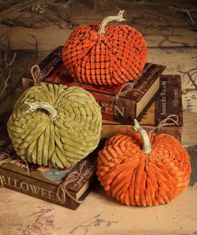 Chenille Fabric Pumpkins. Harvest Decorations.