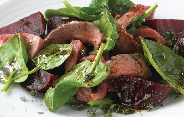 Beef with Beetroot and Spinach