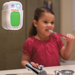 timer for hand washing (20 sec) or teeth brushing (2 min). Light is green to go and blinks red when you can stop. Good idea.