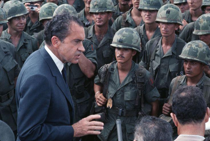 President Nixon visiting troops in Vietnam, March 1, 1970.