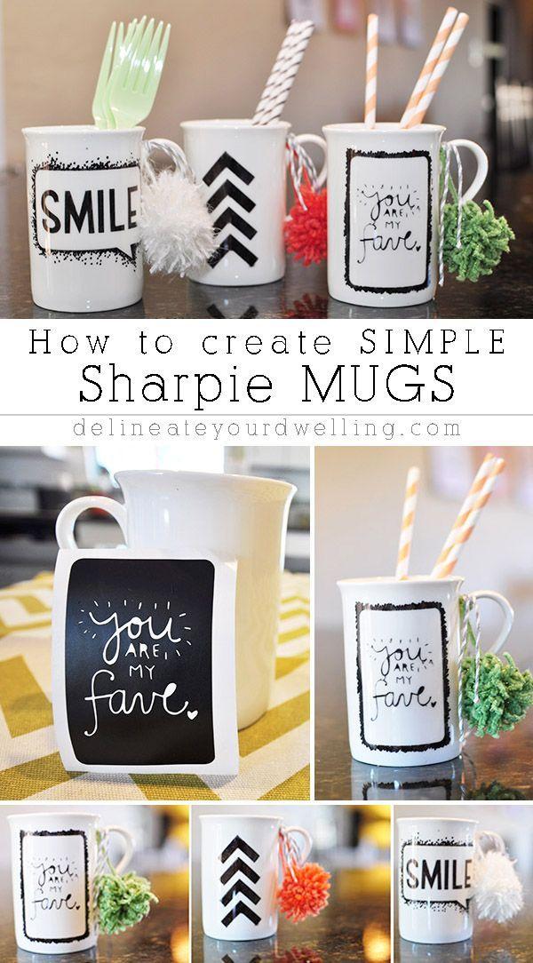 How to create simple Sharpie Mug Art! A great gift idea, too. Delineateyourdwelling.com