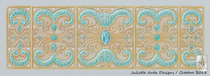 gouaché for a gold, tourmaline indicolite, diamonds et transparent enamel, hinged cuff, Juliette Arda 2013