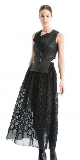 Okishi Black Chiffon Swirl Skirt AW15