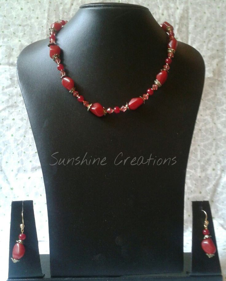Uneven red glass beads necklace with earrings  SOLD OUT