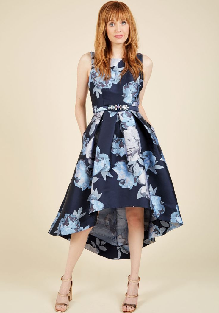 Enchanting Eloquence Floral Dress. After slipping into this navy blue dress by Eliza J, you're able to articulately explain its eternal glamour to everyone you meet! #blue #prom #modcloth