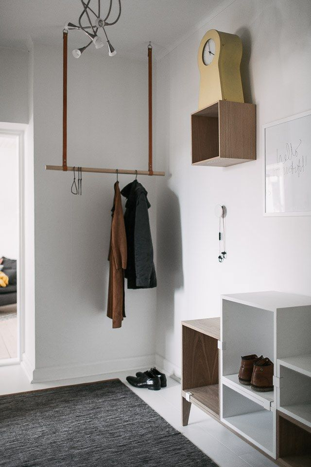 Muuto stacking shelf, clothes rail & yellow Ikea clock