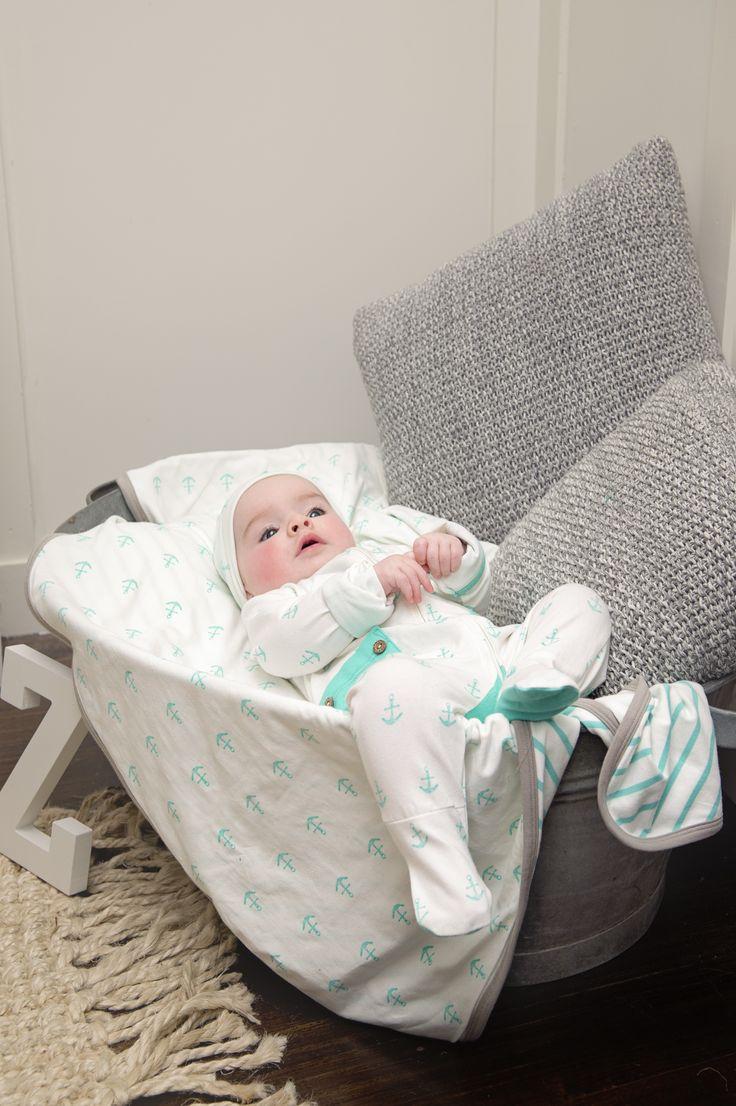 Li'l Zippers: Baby Gift Idea 2way Zip Romper With Fold Over Mittens & Feet Mint Anchor Print 95% Cotton 5% Elastane