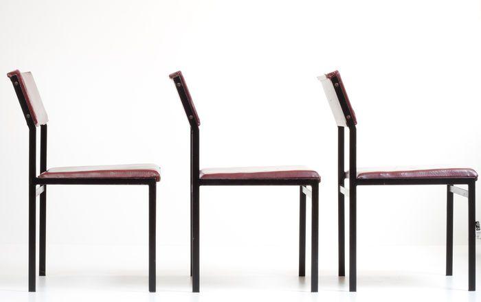 Cees Braakman voor Pastoe - 3x rode stoelen SM07 (Japanse Serie)