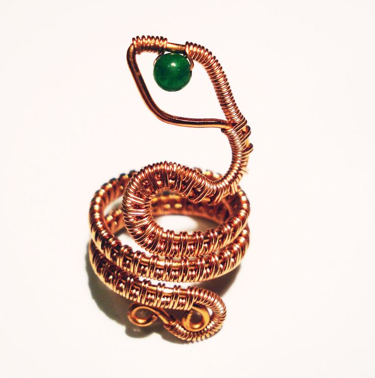 Copper Wire Wrapped Snake Ring with 4mm Aventurine Bead by IALINA