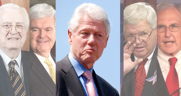 The Republican Hypocrites Who Led The Impeachment Of Bill Clinton. While these Republicans were persecuting and impeaching the president for his extra-marital affair, these men were engaged in  extra-marital affairs of their own.