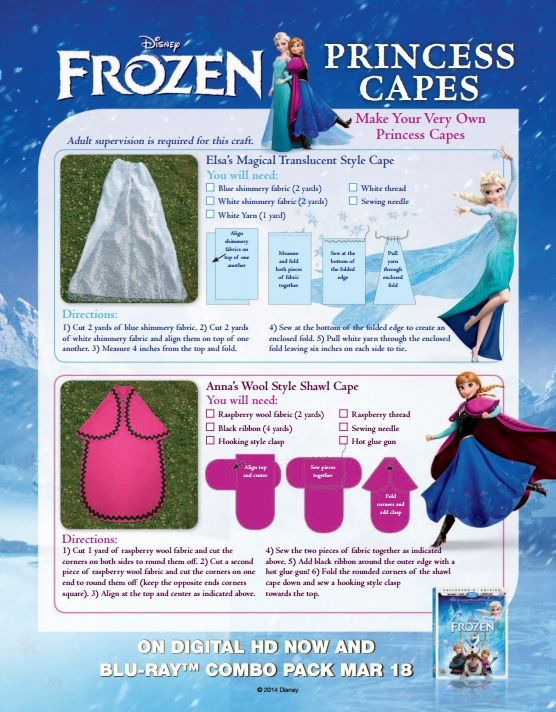 LOVE this DIY graphic from Disney: How To Make Your Own Disney Frozen Elsa Anna Cape or Cloak! #frozen #diy #capes