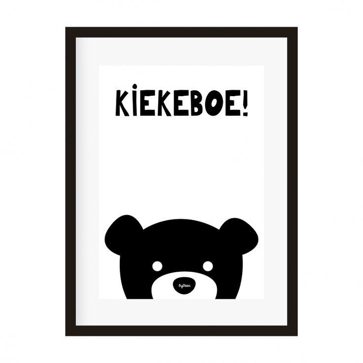 Poster A4 beer kiekeboe Decoratie babykamer en kinderkamer zwart-wit monochrome kinderposters