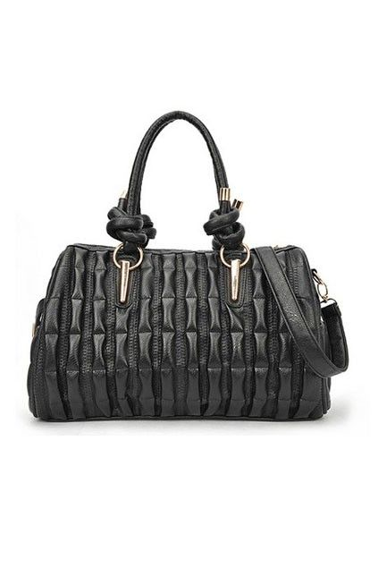 The shoulder bag crafted in PU, featuring exquisite tridimensional ruched main with black color, top visible zipped closure, twin grab handl...