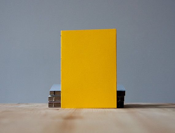 Small Vivid Yellow Paper Cover Coptic Stitch Notebook by knotbooks