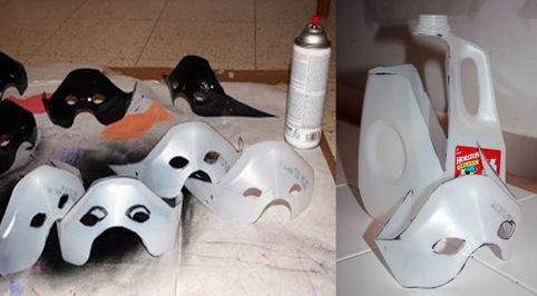 Elaborar divertidas máscaras de superhéroe con botella o bombona de plástico