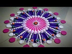 Beautiful Color Rangoli Design - YouTube