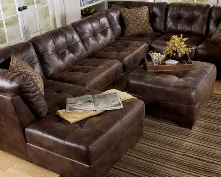 Classic Brown Leather Sectional Tufted Couch With Chaise And Ottoman Table