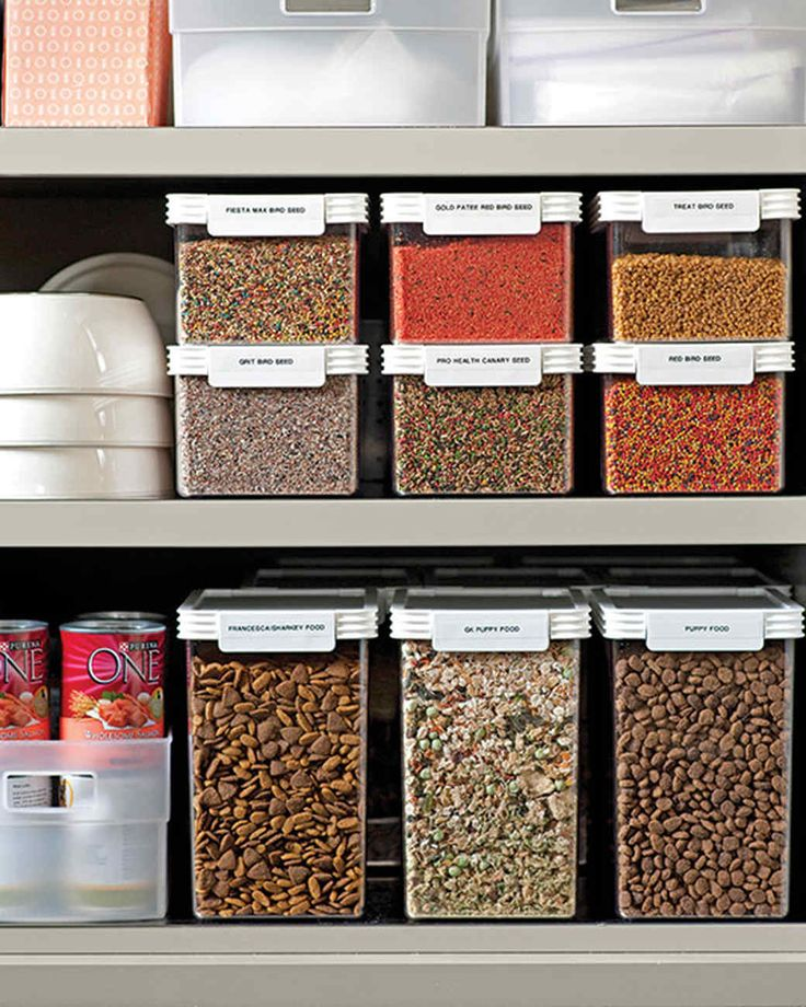 "Pet Food Storage | Martha Stewart Living - ""I have three dogs, five cats, and 22 canaries,"" Martha says."