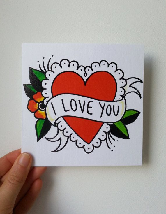 I LOVE YOU card traditional heart tattoo by LucyDrawsPictures