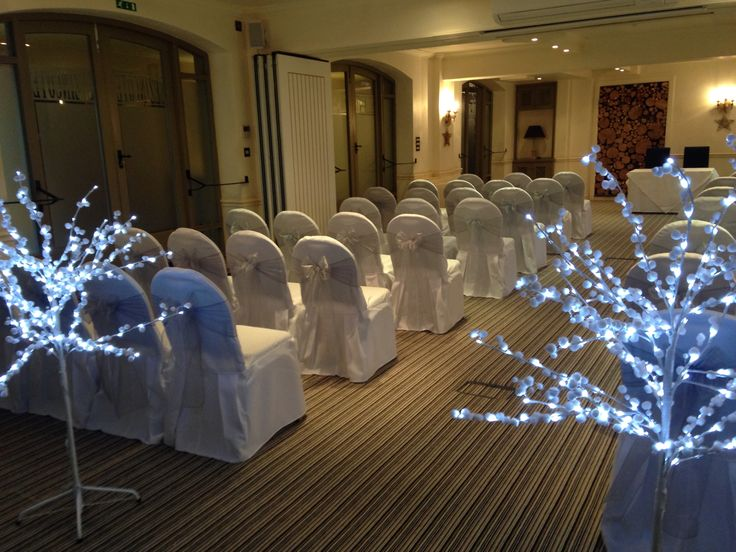 Chair covers with silvers sashes