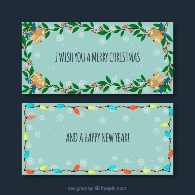 Christmas banners with leaves #Free #Vector