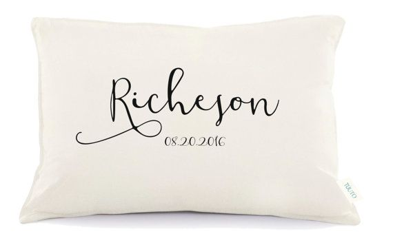 Personalized Wedding Pillow 2nd anniversary pillow by Tulito